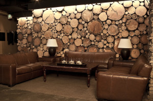 lounge area with log cabin wall