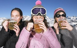Skiing and drinking
