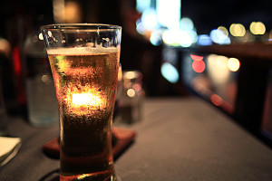 glass of beer in a restaurant